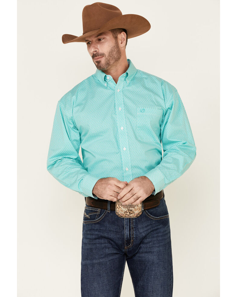 Panhandle Select Men's Green Large Geo Print Long Sleeve Western Shirt , Green, hi-res