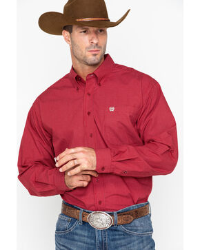Cinch Men's Red Plaid Western Shirt , Burgundy, hi-res