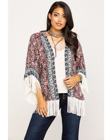 Idyllwind Women's Wild At Heart Fringe Kimono, Burgundy, hi-res