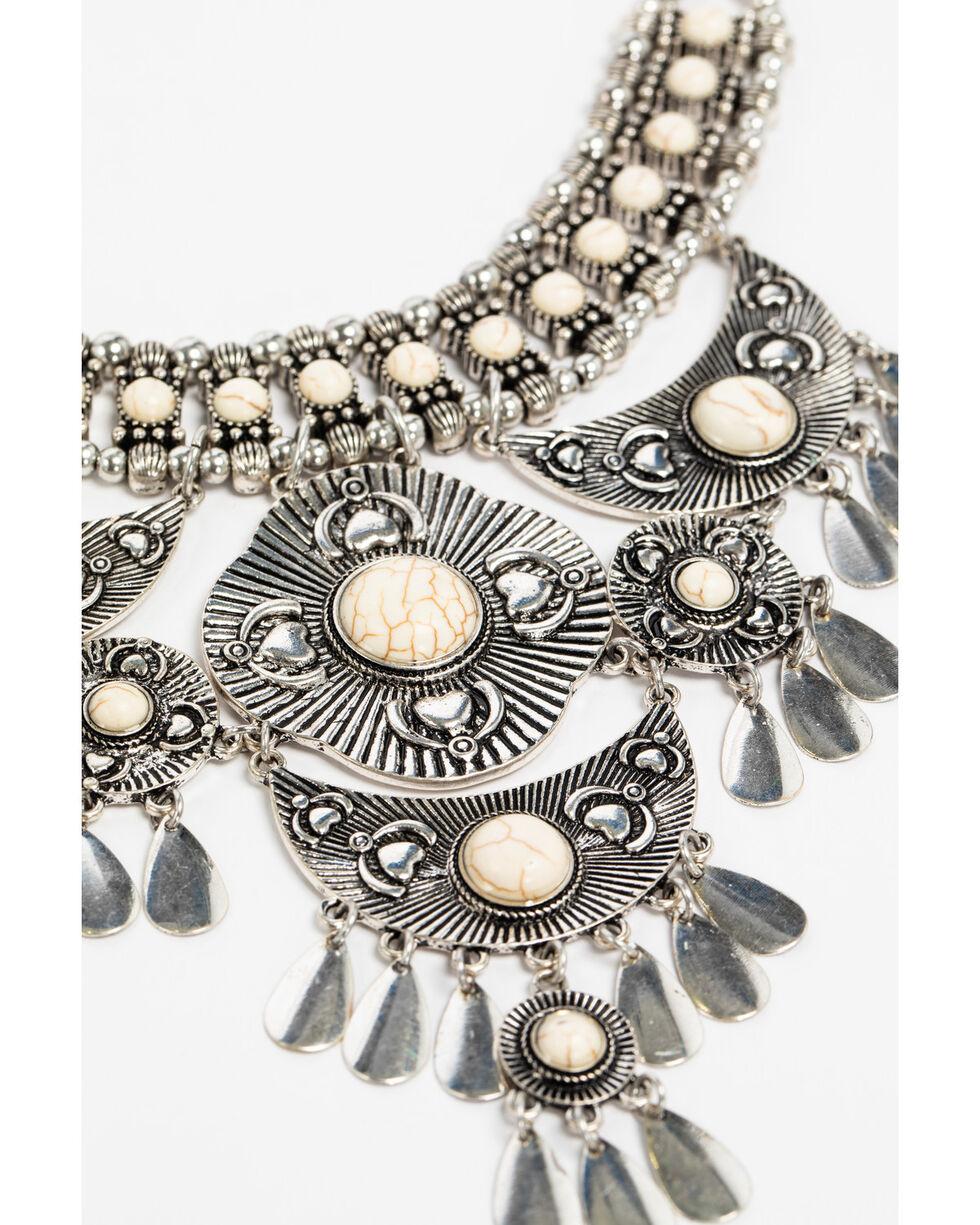 Shyanne Women's White Howlite Statement Bib Necklace, Silver, hi-res