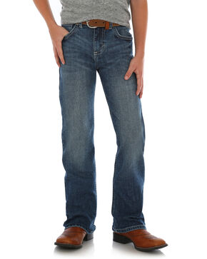 Wrangler 20X Junior Boys' Mitchell Vintage Stretch Denim Boot Jeans , Blue, hi-res