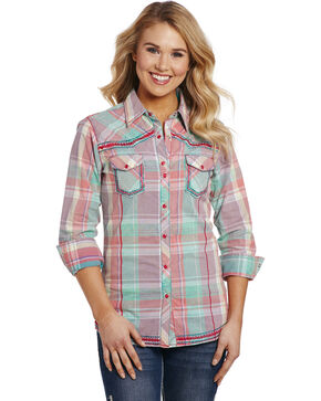 Cowgirl Up Women's Vintage Plaid Long Sleeve Shirt , Multi, hi-res