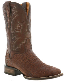 El Dorado Men's Caiman Belly Western Boots - Wide Square Toe, Chocolate, hi-res