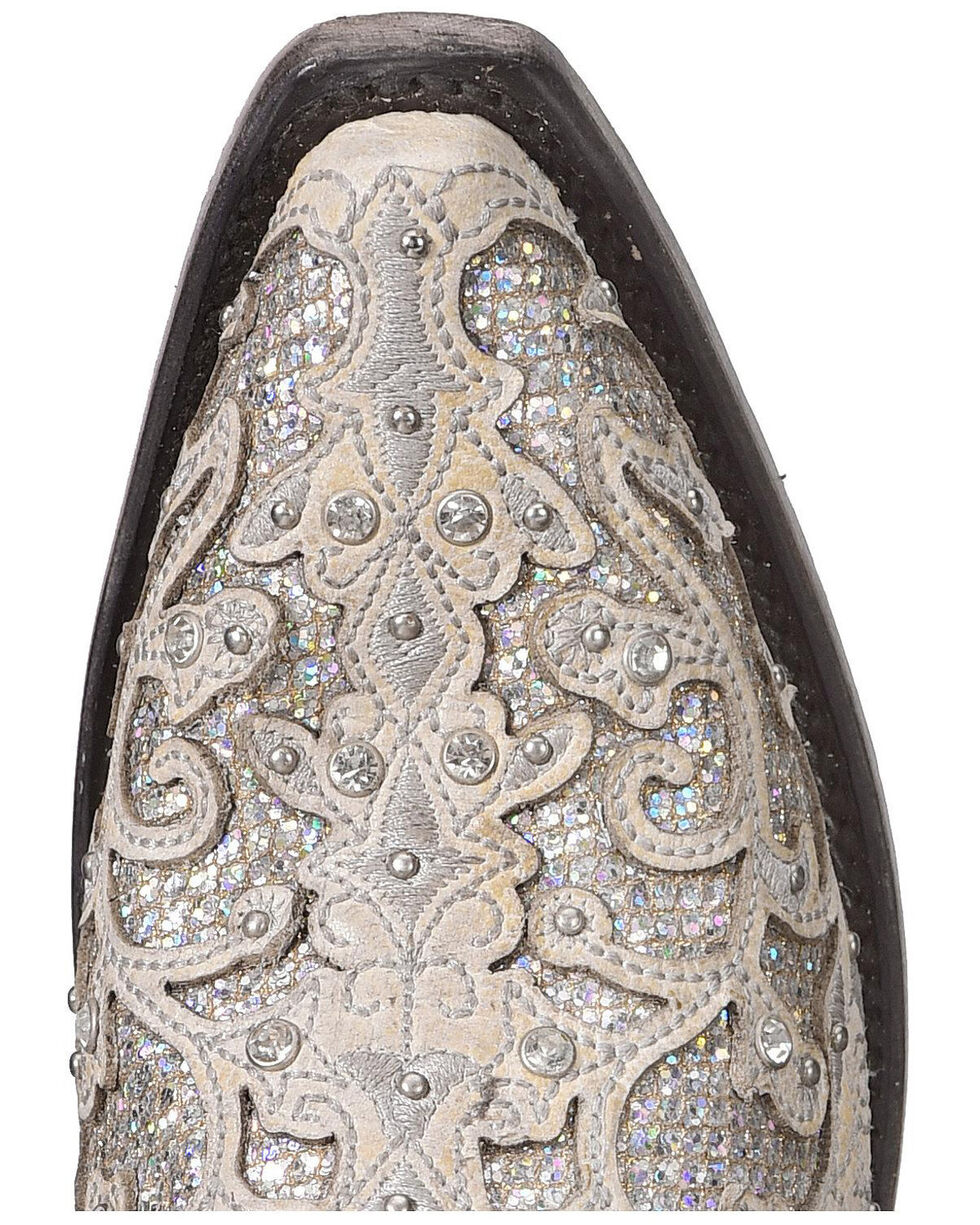 Corral Women's White Glitter Inlay Western Boots, White, hi-res