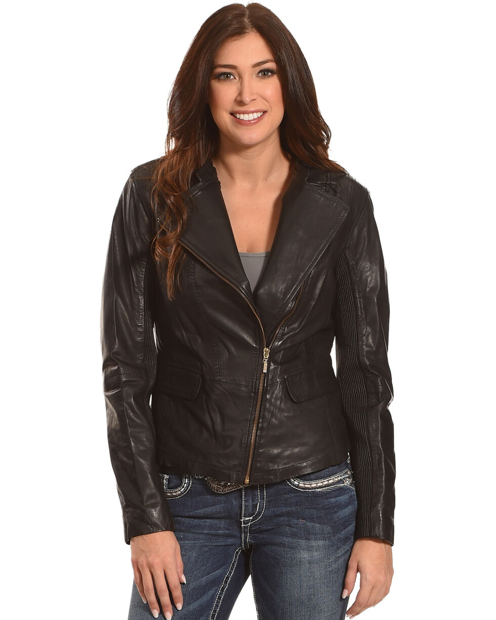 Scully Women's Leather Jacket, Black, hi-res