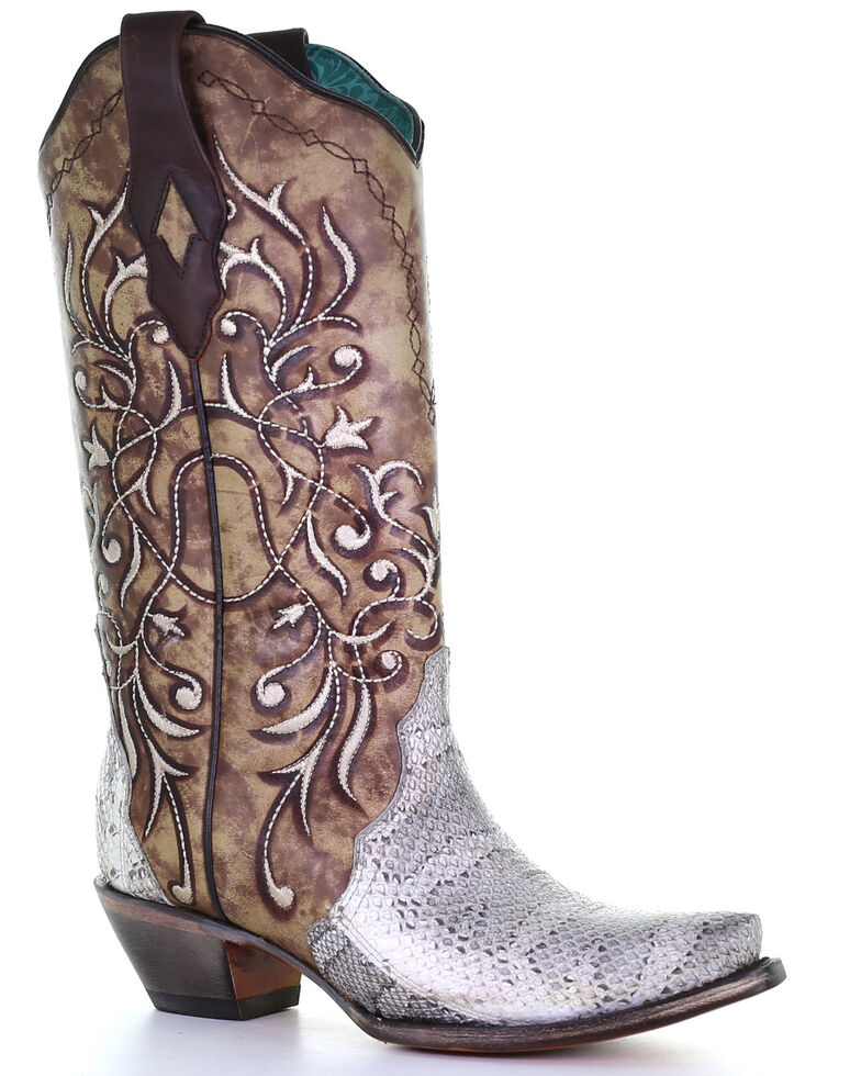 Corral Women's Triad Exotic Snake Skin Western Boots - Snip Toe, Natural, hi-res