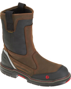 "Wolverine Men's Overman 10"" WP Comp Toe Wellington Boots, Black/brown, hi-res"
