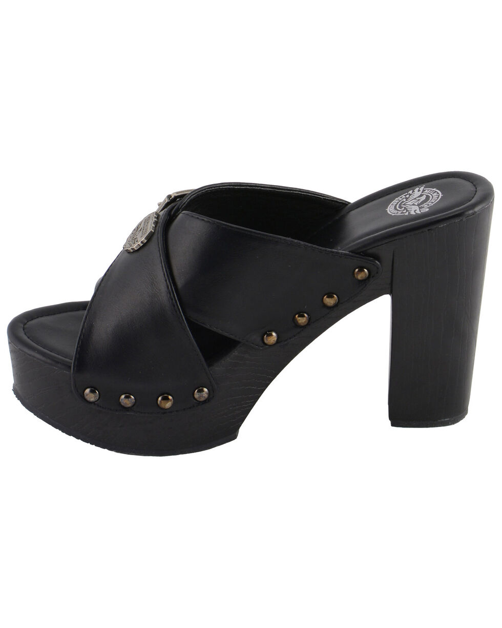 Milwaukee Leather Women's Cross Strap Open Toe Clogs, Black, hi-res