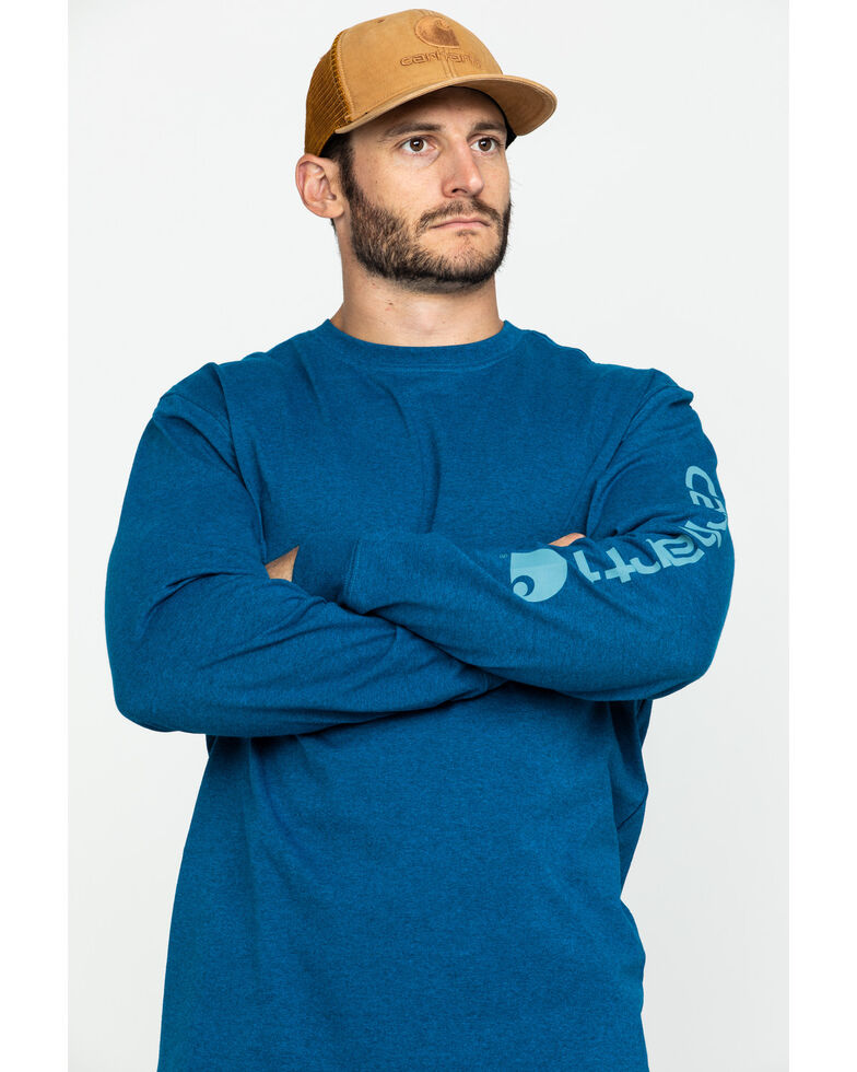 Carhartt Signature Logo Sleeve Knit T-Shirt, Heather Blue, hi-res
