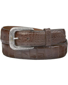 Lucchese Men's Sienna Caiman Ultra Belly Leather Belt, Sienna, hi-res