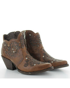 Yippee Ki Yay by Old Gringo Women's Molly Short Brown Fashion Booties - Snip Toe, Brown, hi-res