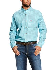 Ariat Men's FR Brent Check Plaid Long Sleeve Work Shirt - Tall , Blue, hi-res