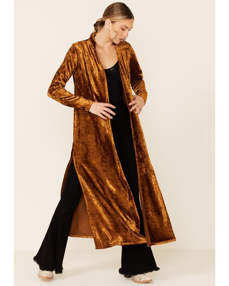 Rock & Roll Denim Women's Rust Gold Crushed Velvet Duster , Brown, hi-res