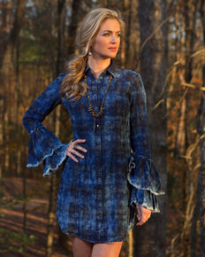 Ryan Michael Women's Indigo Tiered Sleeve Dress , Indigo, hi-res