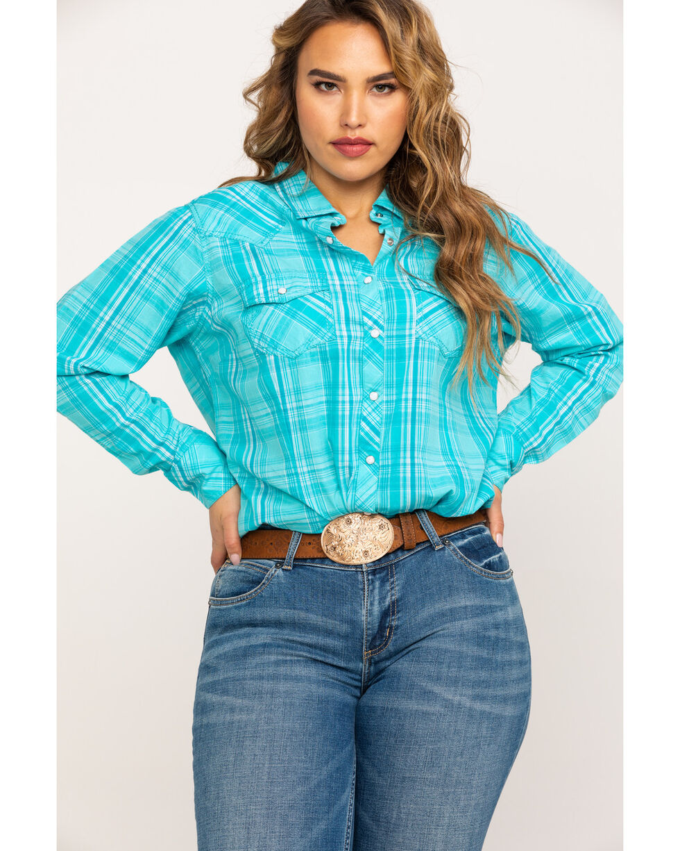 Ariat Women's R.E.A.L. Essence Plaid Long Sleeve Western Shirt , Turquoise, hi-res