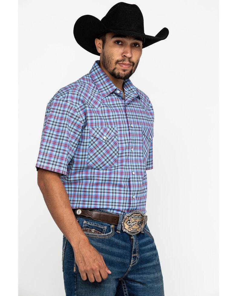 Rough Stock By Panhandle Men's Luge Ombre Plaid Short Sleeve Western Shirt , Light Blue, hi-res