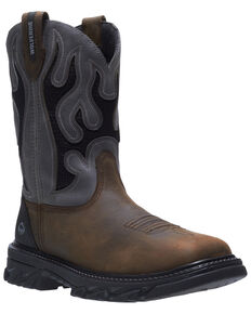 Wolverine Men's Grey Ranch King Western Work Boots - Soft Toe, Grey, hi-res