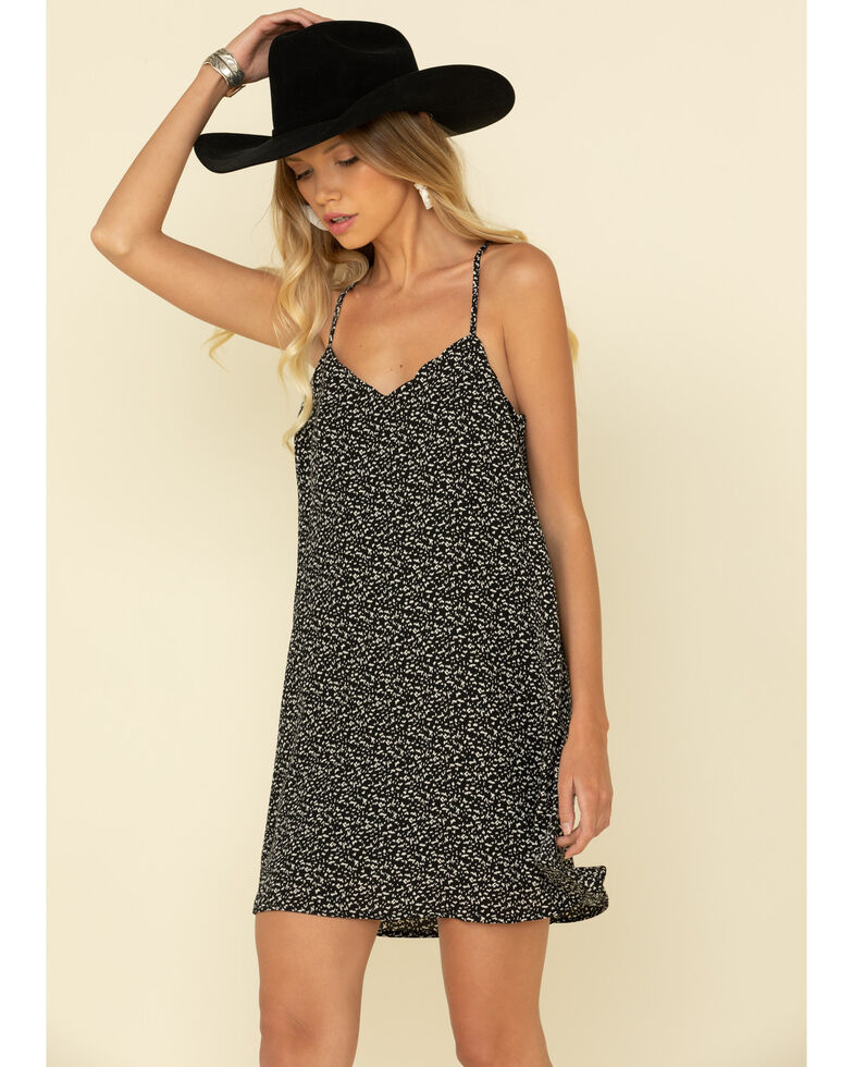 Very J Women's Ditsy Ruffled Cami Dress, Black, hi-res