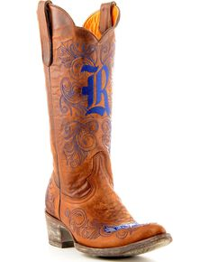 Gameday Rice University Cowgirl Boots - Pointed Toe, Brass, hi-res