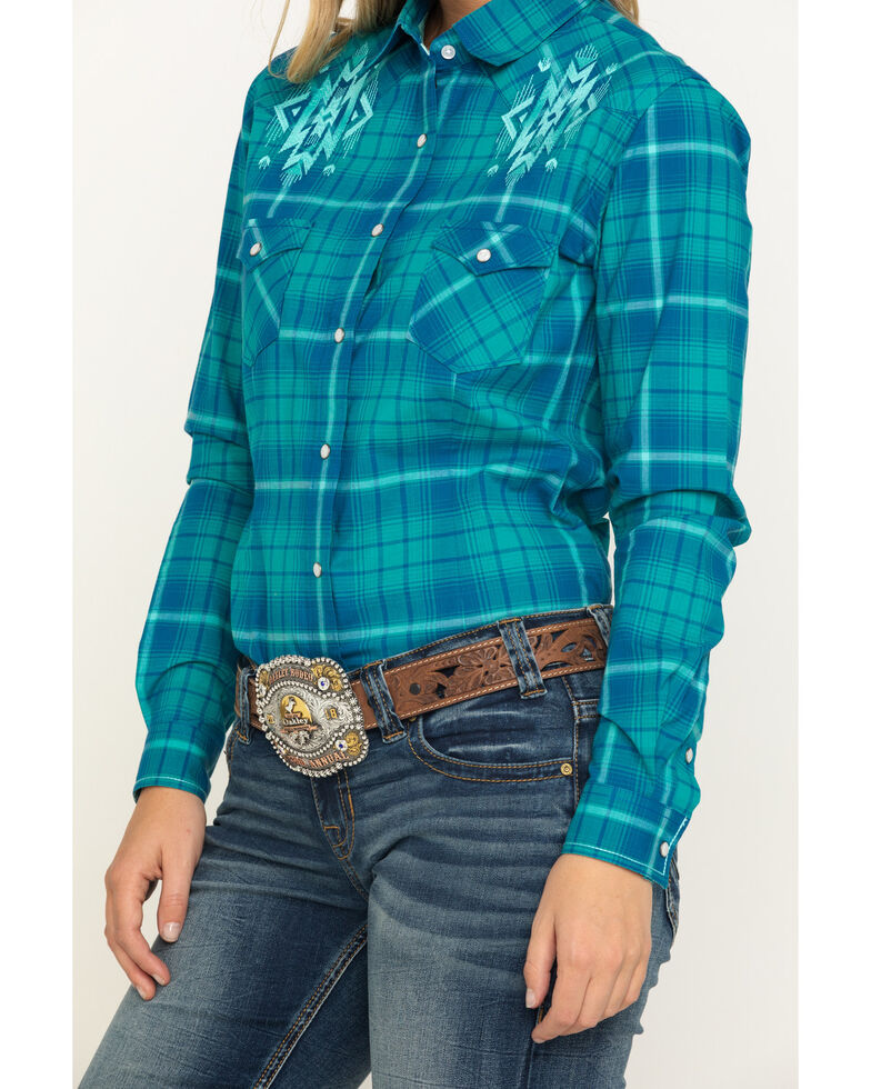 Rough Stock by Panhandle Women's Blue Aztec Embroidery Plaid Snap Long Sleeve Western Shirt, Teal, hi-res