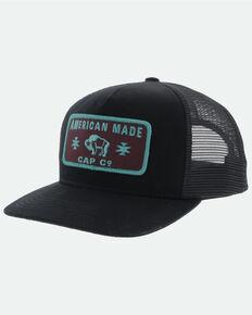 HOOey Men's Black Western Rectangle Patch Mesh Ball Cap , Black, hi-res