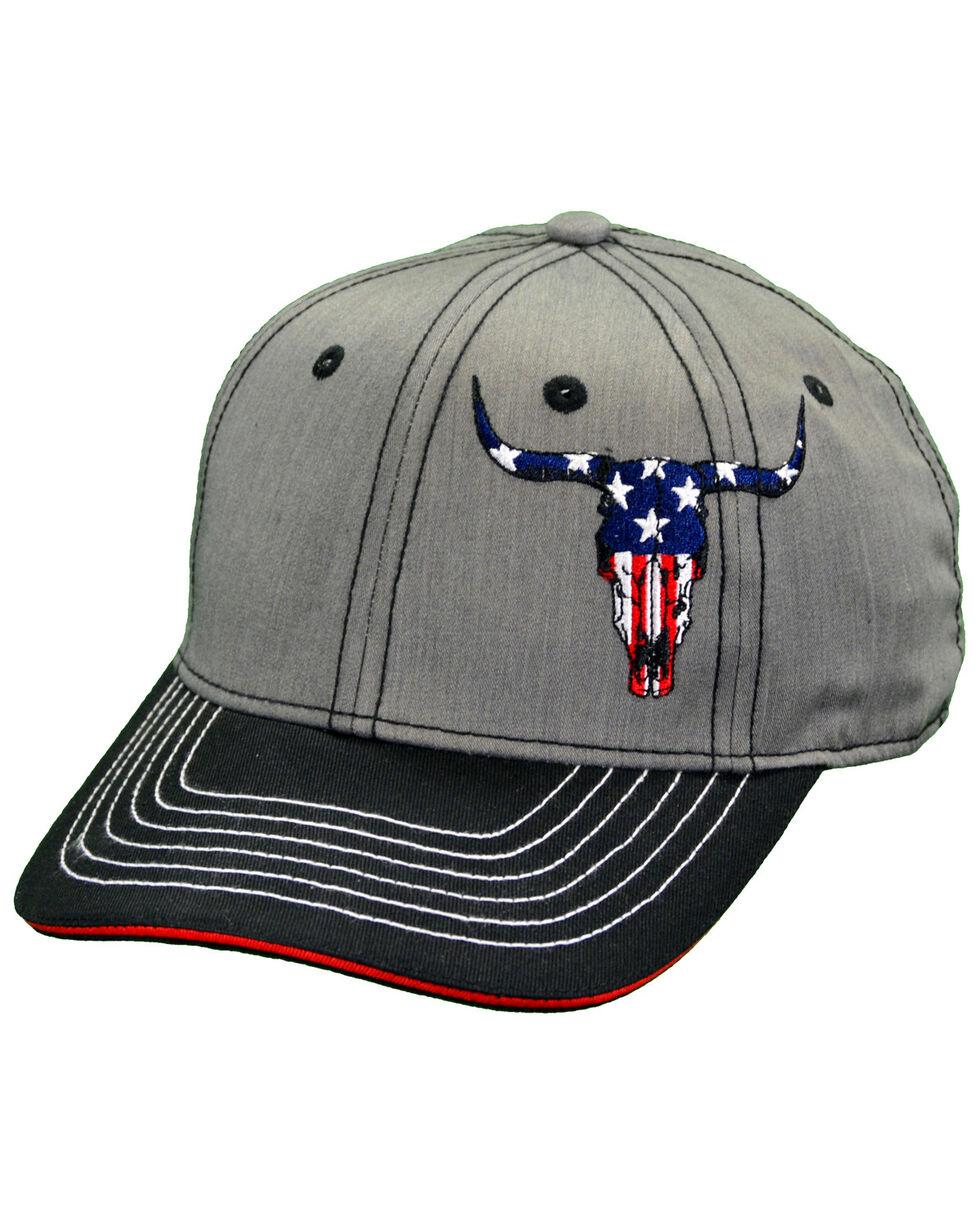 Cowboy Hardware Men's American Flag Skull Snap Cap, Heather Grey, hi-res
