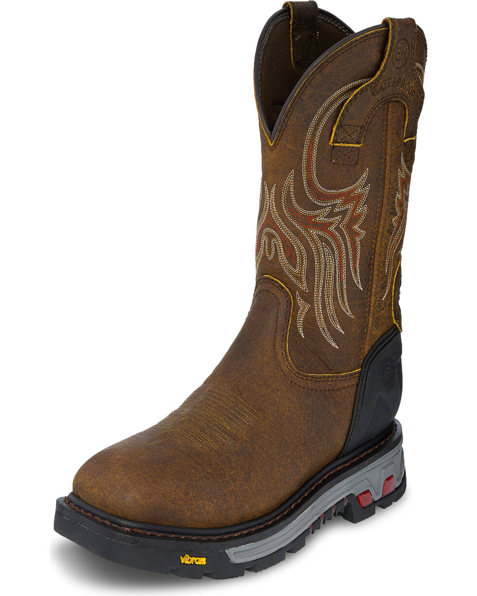 Justin Men's Tumbled WP Commander-X5 Pull-On Work Boots, Brown, hi-res