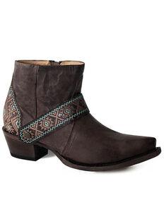 Roper Women's Oiled Brown Fashion Booties - Snip Toe, Brown, hi-res