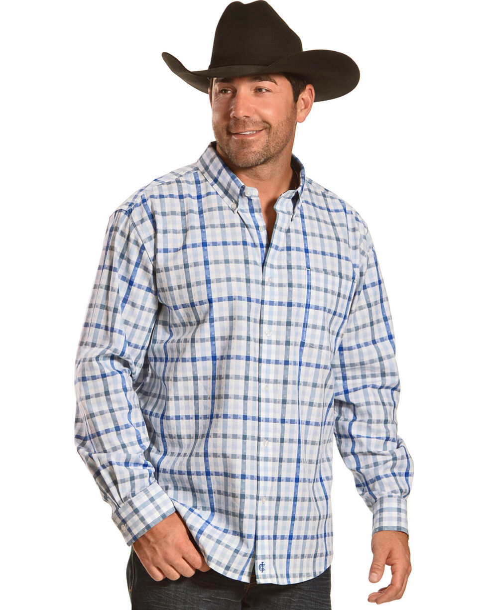 Cody James Men's Dagwood Plaid Long Sleeve Button Down Shirt, White, hi-res