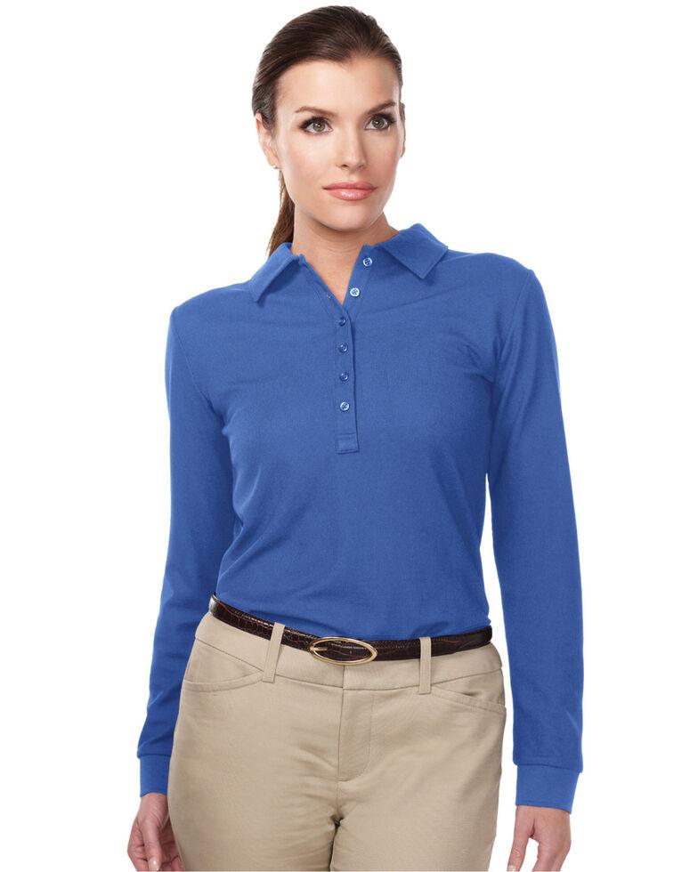 Tri-Mountain Women's Royal Blue 4X Stamina Long Sleeve Polo - Plus, Royal Blue, hi-res