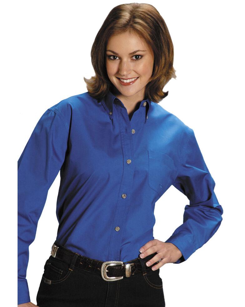 Roper Women's Amarillo Solid Button-Down Poplin Shirt - Plus, Royal, hi-res