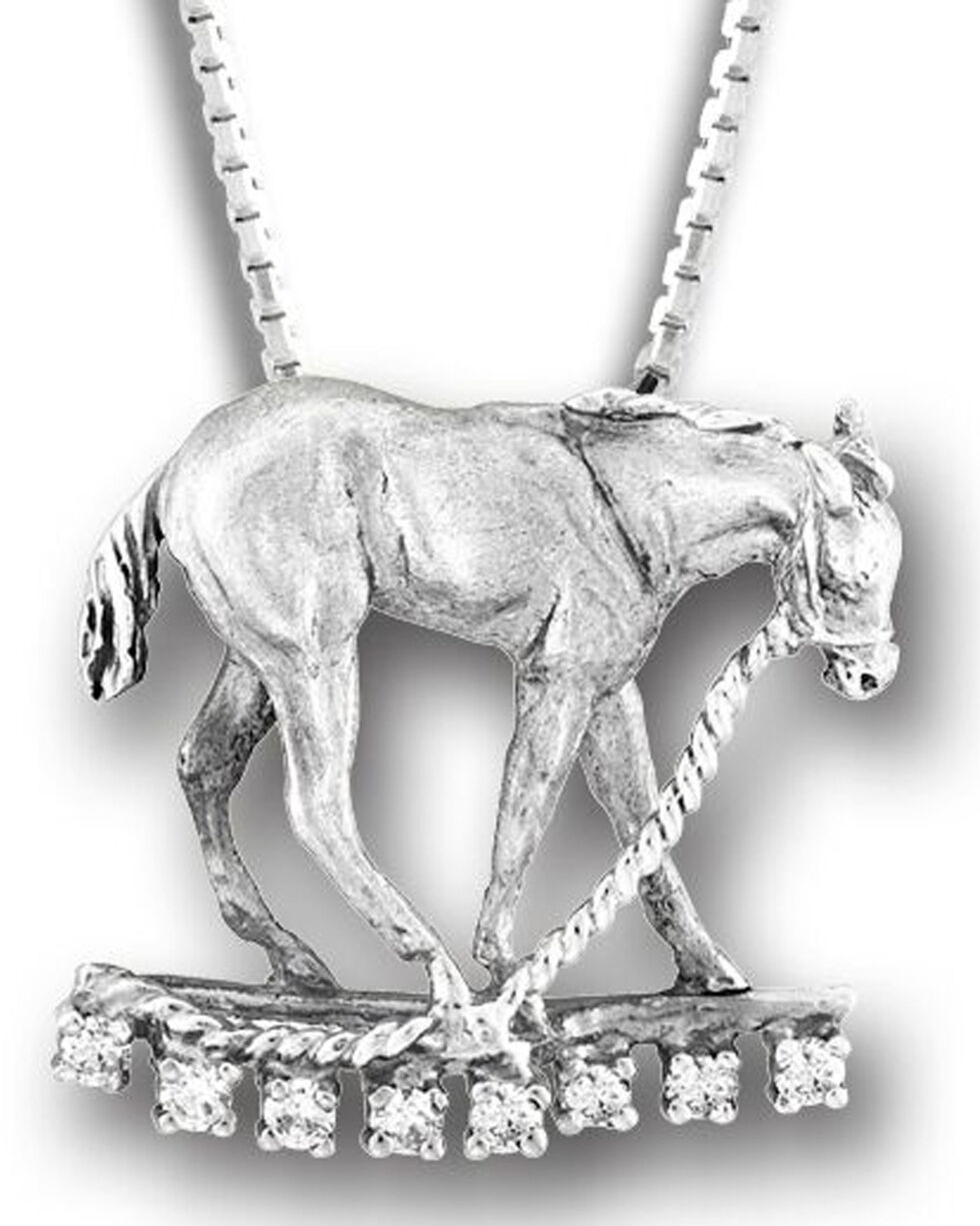 Kelly Herd Women's Sterling Silver Colt on Lead Rope Necklace , Silver, hi-res