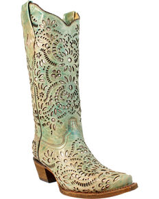 Corral Women's Daisy Glitter Inlay Western Boots, Blue, hi-res