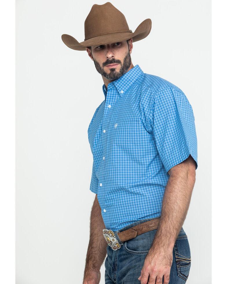 Ariat Men's Glendale Plaid Short Sleeve Western Shirt - Big , Blue, hi-res