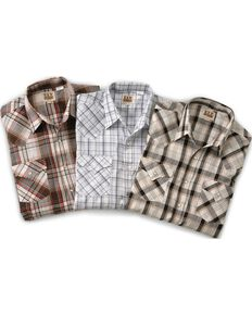 Ely Cattleman Men''s Assorted Plaid or Stripe Short Sleeve Western Shirt , Plaid, hi-res