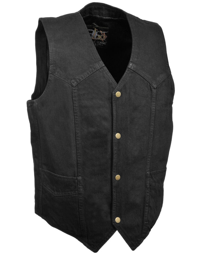 Milwaukee Leather Men's Classic Snap Front Denim Biker Vest, Black, hi-res