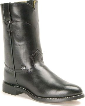 "Justin Men's 10"" Roper Boots, Black, hi-res"