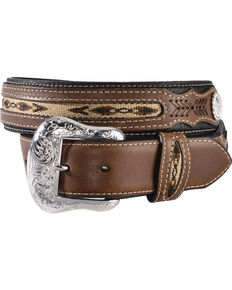 Nocona Men's Rough-Out and Overlay Western Belt, Black, hi-res