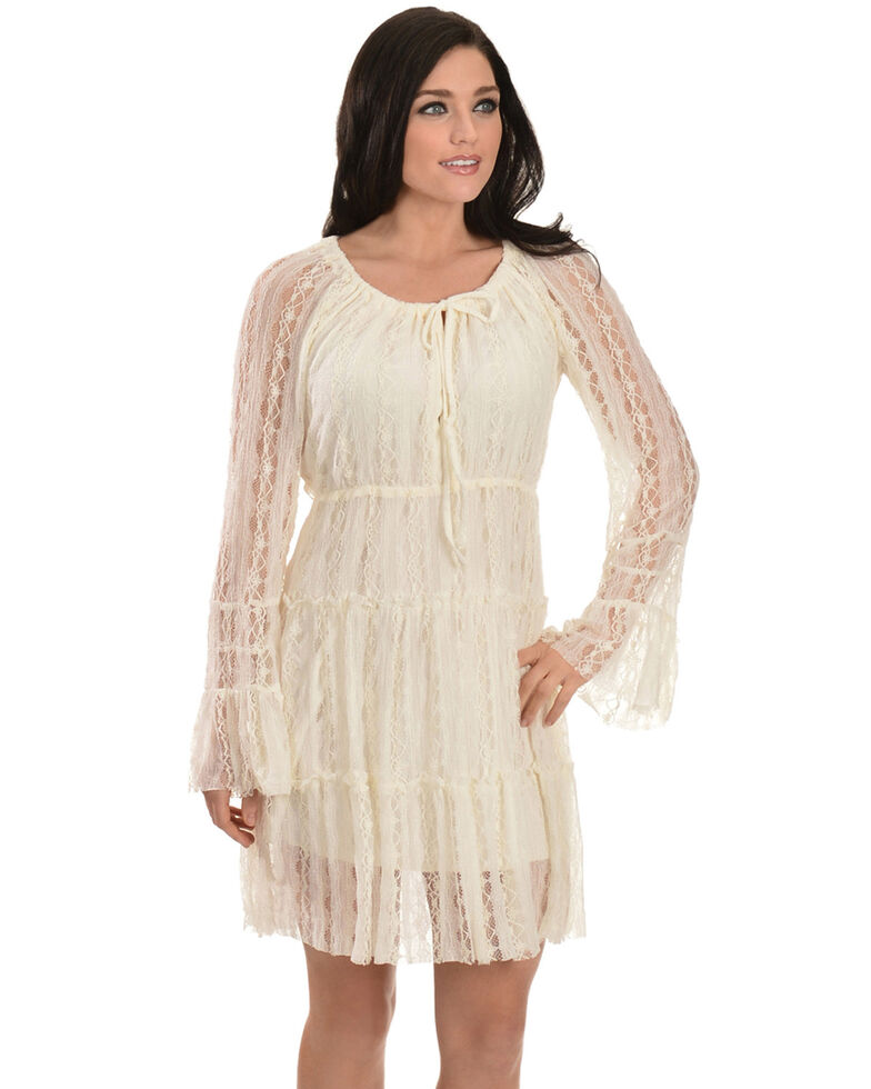 Scully Women's Solid Lined Lace Dress, Ivory, hi-res