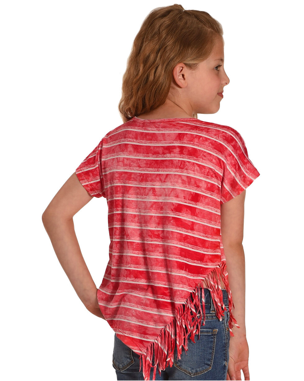 Idol Mind Girls' Striped Side Fringe Top, Red, hi-res