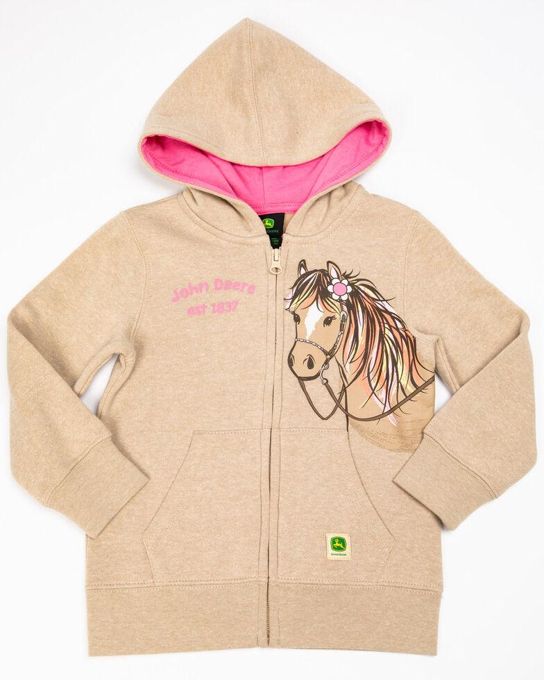 John Deere Toddler Girls' Khaki Horse Fleece Zip-Up Hoodie, Beige/khaki, hi-res