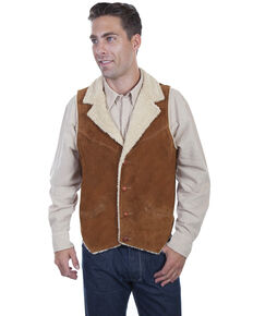 Scully Men's Faux Suede Shearling Vest, Brown, hi-res