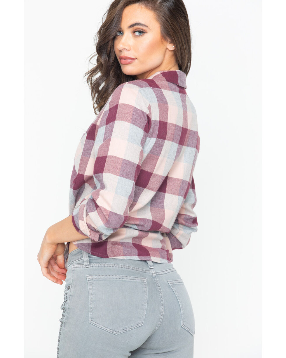 Shyanne Women's Buffalo Check Plaid Shirt , Blush, hi-res