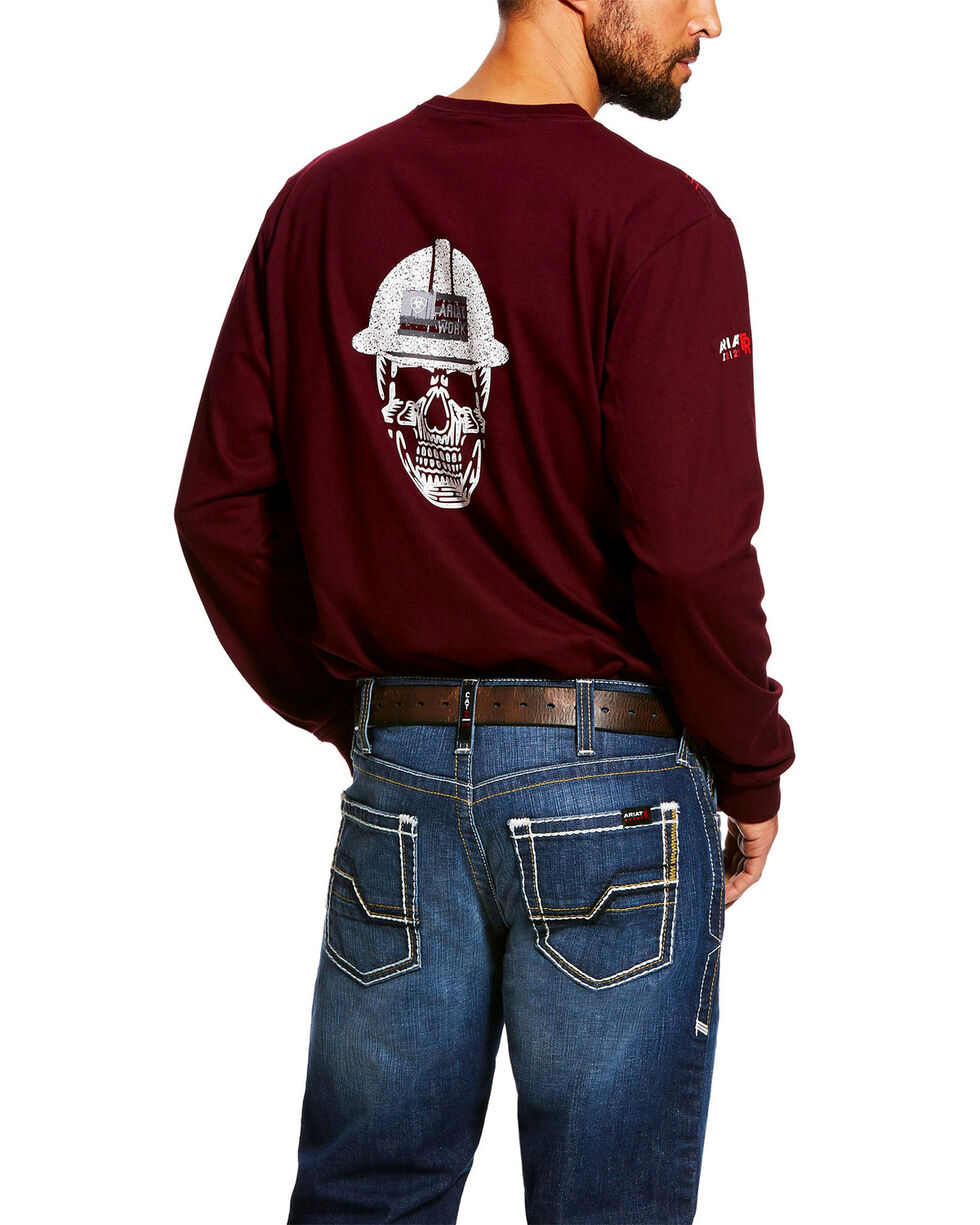 Ariat Men's Red FR Roughneck Skull Logo Crew Long Sleeve Work Tee - Tall , Red, hi-res