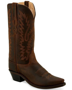 """Old West Women's 12"""" Classic Western Boots - Snip Toe, Brown, hi-res"""