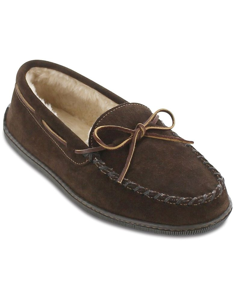 Minnetonka Pile Lined Hardsole Moccasins - Wide(7-13), Chocolate, hi-res