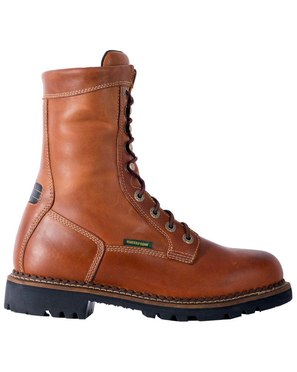 "John Deere Men's 9"" Waterproof Logger Boots - Steel Toe, Mahogany, hi-res"