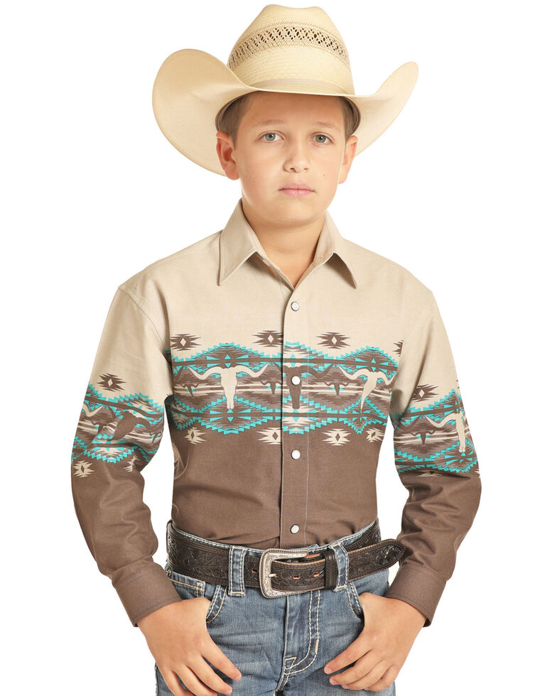 Panhandle Boys' Tan Aztec Scenic Border Print Long Sleeve Western Shirt , Tan, hi-res