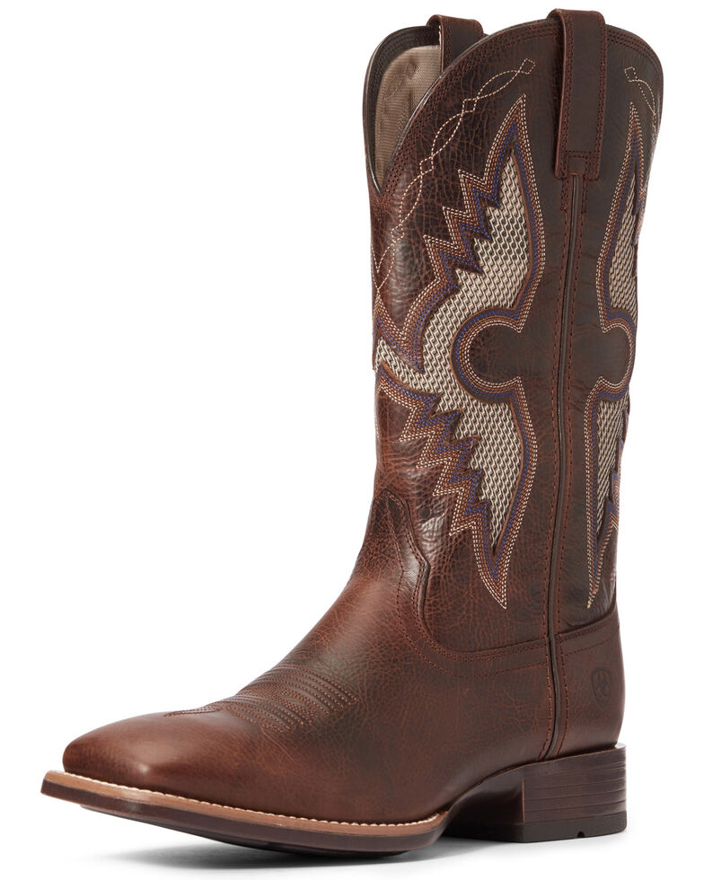 Ariat Men's Solado VentTEK Western Boots - Wide Square Toe, Dark Brown, hi-res