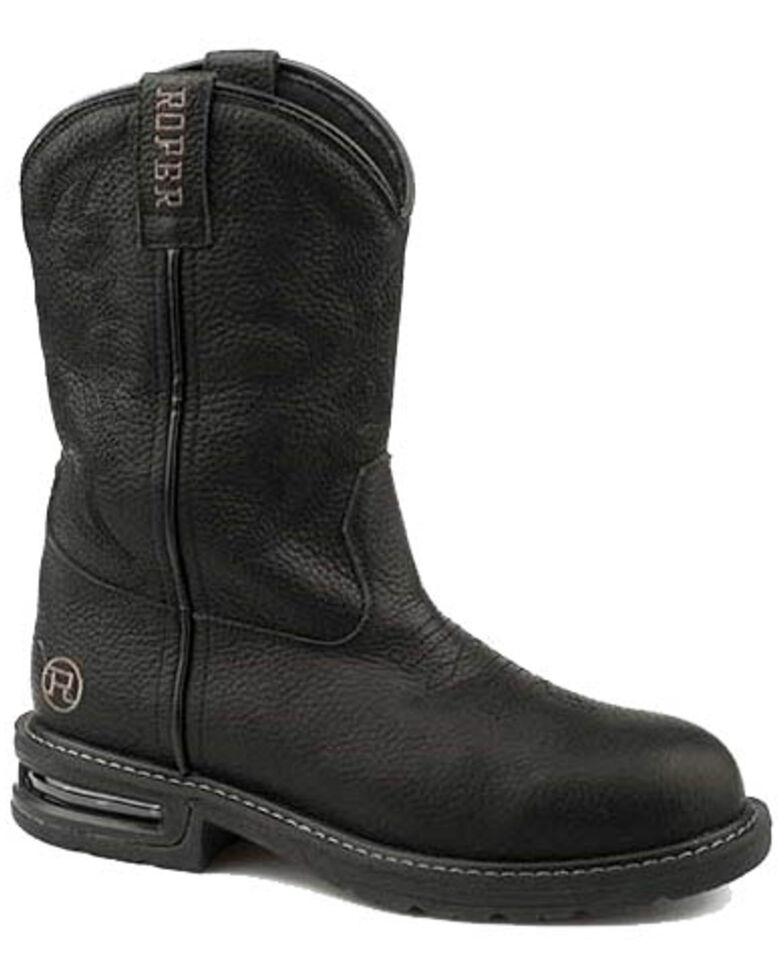 Roper Men's Worker Black Western Boots - Square Toe, Black, hi-res